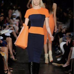 Victoria Beckham orange and blue color block dress
